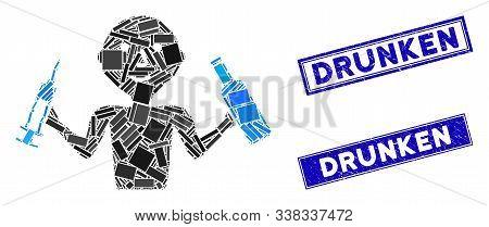 Mosaic Addict Man Pictogram And Rectangle Drunken Seal Stamps. Flat Vector Addict Man Mosaic Pictogr