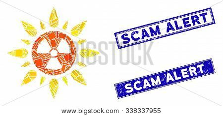 Mosaic Atomic Radiation Pictogram And Rectangle Scam Alert Watermarks. Flat Vector Atomic Radiation