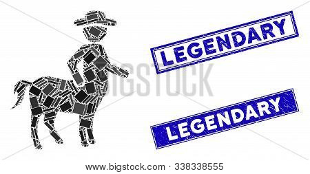 Mosaic Centaur Pictogram And Rectangle Legendary Seal Stamps. Flat Vector Centaur Mosaic Pictogram O