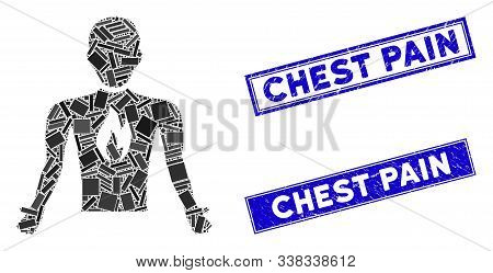 Mosaic Chest Pain Pictogram And Rectangle Chest Pain Rubber Prints. Flat Vector Chest Pain Mosaic Pi