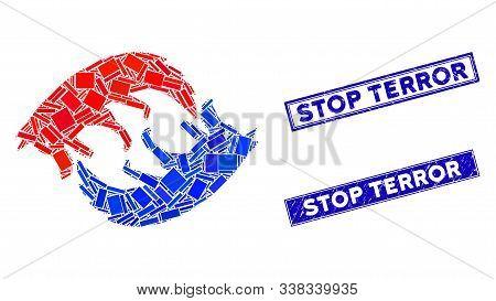 Mosaic Dog Eat Dog Pictogram And Rectangular Stop Terror Seals. Flat Vector Dog Eat Dog Mosaic Picto