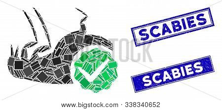 Mosaic Flea Control Pictogram And Rectangle Scabies Watermarks. Flat Vector Flea Control Mosaic Pict