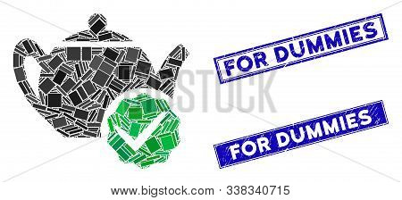 Mosaic For Dummies Only Pictogram And Rectangle For Dummies Seal Stamps. Flat Vector For Dummies Onl