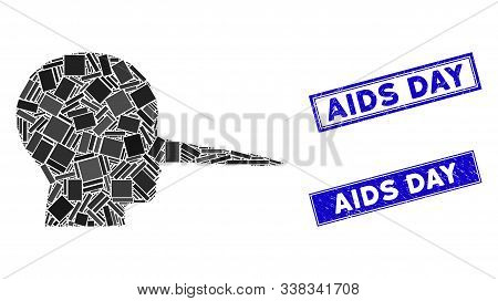 Mosaic Liar Icon And Rectangular Aids Day Seals. Flat Vector Liar Mosaic Icon Of Random Rotated Rect