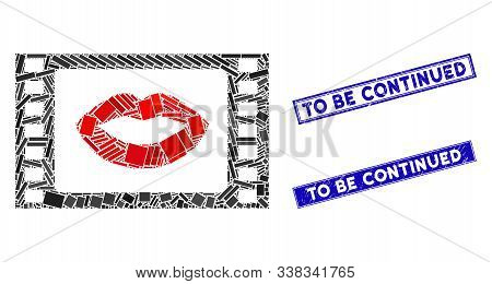 Mosaic Love Story Movie Icon And Rectangle To Be Continued Watermarks. Flat Vector Love Story Movie
