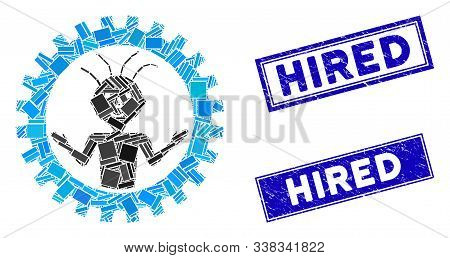 Mosaic Mad Engineer Icon And Rectangular Hired Stamps. Flat Vector Mad Engineer Mosaic Icon Of Rando