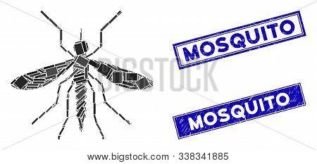 Mosaic Mosquito Pictogram And Rectangular Mosquito Watermarks. Flat Vector Mosquito Mosaic Pictogram