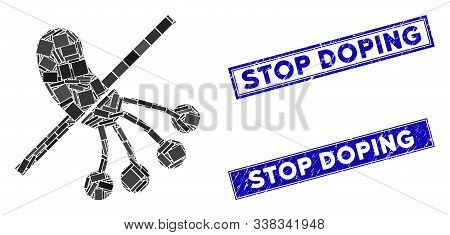 Mosaic No Bacteria Pictogram And Rectangular Stop Doping Stamps. Flat Vector No Bacteria Mosaic Pict