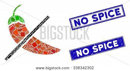 Mosaic No Spice Pictogram And Rectangular No Spice Rubber Prints. Flat Vector No Spice Mosaic Pictog