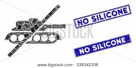 Mosaic No Tank Pictogram And Rectangle No Silicone Stamps. Flat Vector No Tank Mosaic Pictogram Of R