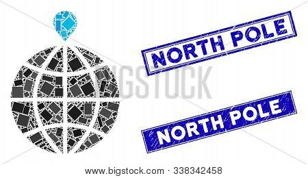 Mosaic North Pole Pictogram And Rectangular North Pole Rubber Prints. Flat Vector North Pole Mosaic