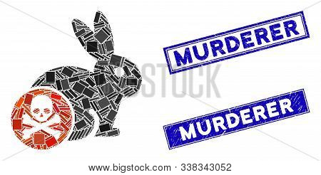 Mosaic Rabbit Toxin Icon And Rectangular Murderer Watermarks. Flat Vector Rabbit Toxin Mosaic Icon O