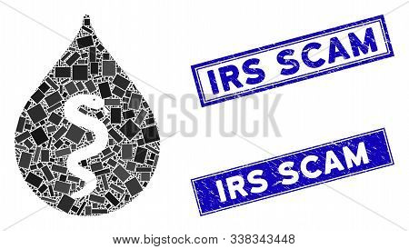 Mosaic Snake Oil Icon And Rectangular Irs Scam Seal Stamps. Flat Vector Snake Oil Mosaic Icon Of Ran