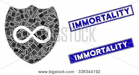 Mosaic Unlimited Shield Icon And Rectangle Immortality Seal Stamps. Flat Vector Unlimited Shield Mos