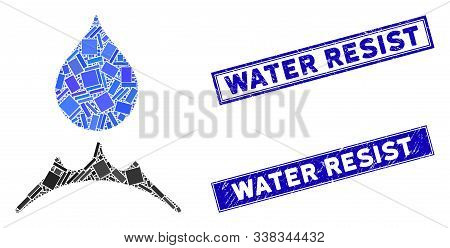 Mosaic Water Resistent Icon And Rectangle Water Resist Seal Stamps. Flat Vector Water Resistent Mosa