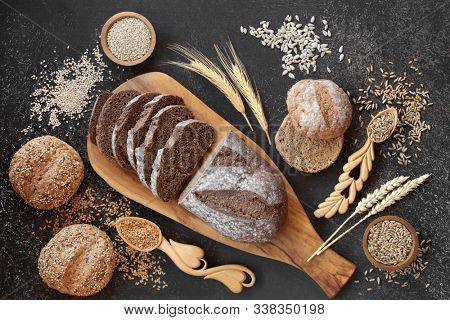 High fibre german rye bread loaf with sour dough & seeded rolls, loose grain & seeds. High in vitamins, antioxidants and omega 3. Reduces high blood pressure, cholesterol and optimise a healthy heart.