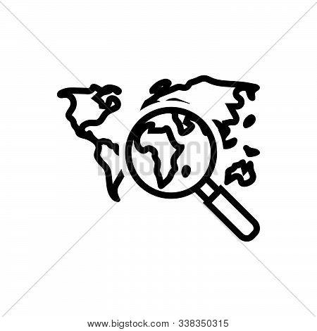 Black Line Icon For Discover Travel Landmark World
