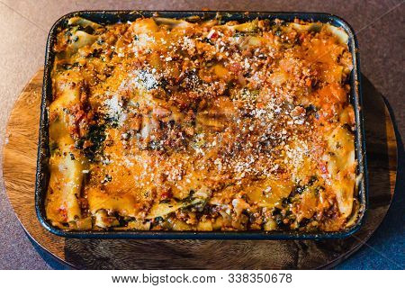 Vegan Lasagne With Dairy Free Cheese And Vegan Bolognaise Mince