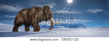 Mammoth In The Middle Of Mountains . This Is A 3d Render Illustration