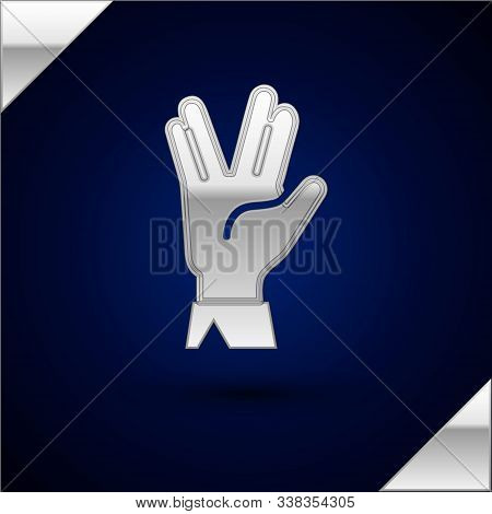Silver Vulcan Salute Icon Isolated On Dark Blue Background. Hand With Vulcan Greet. Spock Symbol. Ve