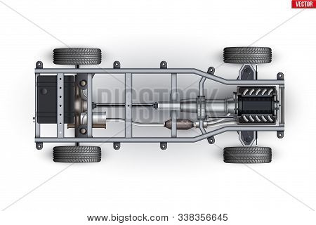 Car Frame Chassis. Vehicle Frame With Engine And Transmission. Wheels And Exhaust Pipe On Automobile