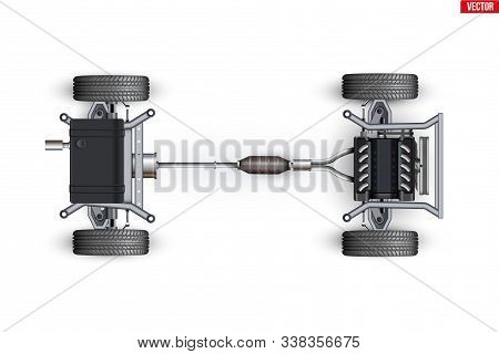 Car Unibody Chassis. Vehicle Frame With Engine And Transmission. Wheels And Exhaust Pipe On Automobi