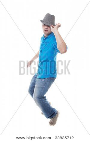 This young man is dancing - isolated over white background.