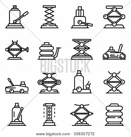 Jack-screw Icons Set. Outline Set Of Jack-screw Vector Icons For Web Design Isolated On White Backgr