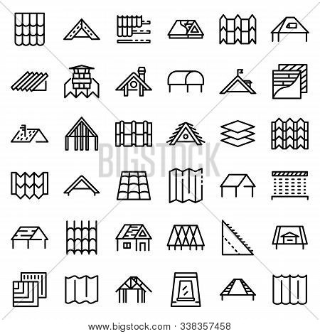 Roof Icons Set. Outline Set Of Roof Vector Icons For Web Design Isolated On White Background