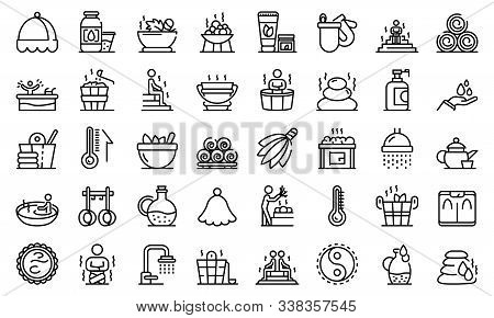 Sauna Icons Set. Outline Set Of Sauna Vector Icons For Web Design Isolated On White Background