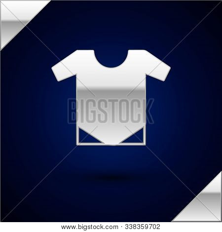 Silver Baby Onesie Icon Isolated On Dark Blue Background. Baby Clothes Symbol. Kid Wear Sign. Vector