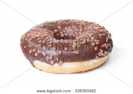 Sweet chocolate donut isolated on white background