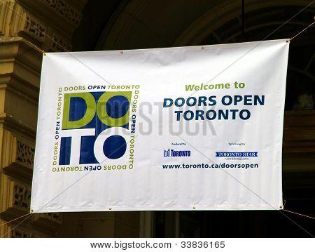 Door Open Toronto Sign