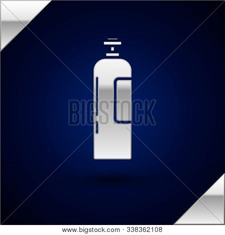 Silver Industrial Gas Cylinder Tank For All Inert And Mixed Inert Gases Icon Isolated On Dark Blue B