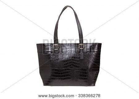 Black, Leather Elegant Women Bag. Fashionable Female Handbag, Isolated