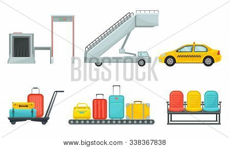 Airport Design Elements Set, Different Transport Types, Service Facilities, Conveyor Baggage Belt, R