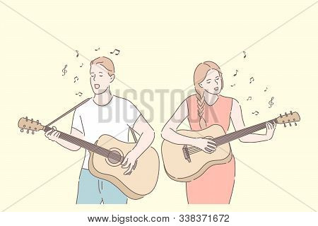 Music Band, Playing Guitar, Duet Singing Concept. Friends Playing Musical Instruments. Young Guitari