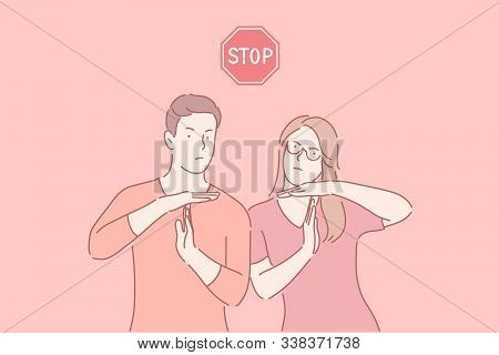 Stop Working, Time Break Gesture, Timeout Signal Concept. Man And Woman Showing Body Language Sign W