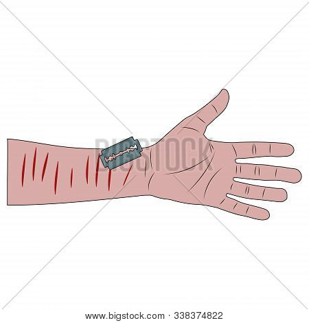 A Cut Wrist With A Blade. Suicide Attempt. White Background Isolated Stock Cartoon Vector Illustrati