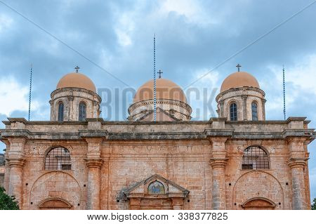 View Of Greek Orthodox Monastery Agia Triada In The Akrotiri Peninsula In The Chania, Crete. Greece.