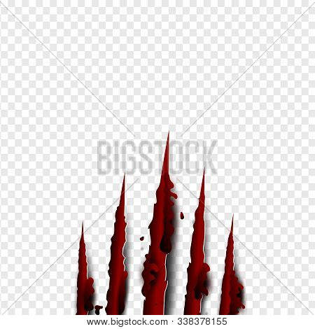 Illustration Of Claws Scratches Red Blood Vertical On Isolate Background. Creative Paper Craft,cut S