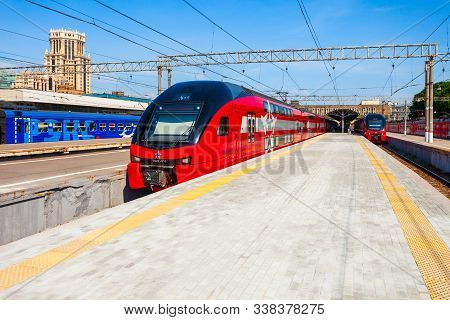 Moscow, Russia - June 23, 2018: Double-decker Aeroexpress Train In Moscow