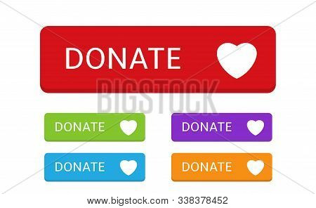 Donate Buttons. Colored Buttons With Heart Symbol For Your Website, Philanthropy, Charity And Volunt