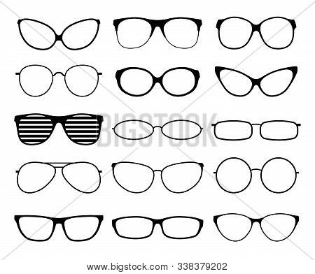 Glasses Silhouettes. Fashion Sunglasses Frames, Black Spectacles. Geek And Hipster Eyewears. Man Wom