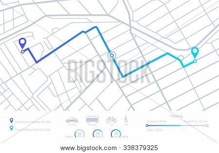 Gps Navigation. Planning Routes. Mobile Navigating Map With Location City Streets. Distance Tracking