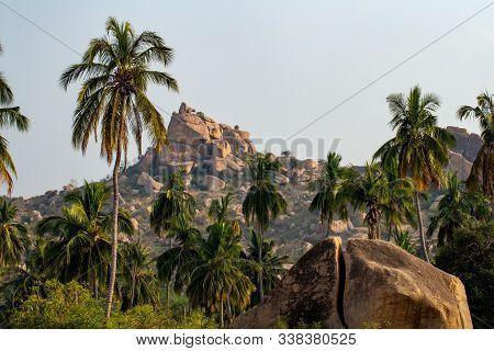 Beautiful View Of The Amazing Hampi's Ruins. Karnataka, India