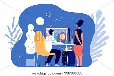 Graphic Designers. Professional Design, Designer Working At Computer. Creative Digital Artist And Ed