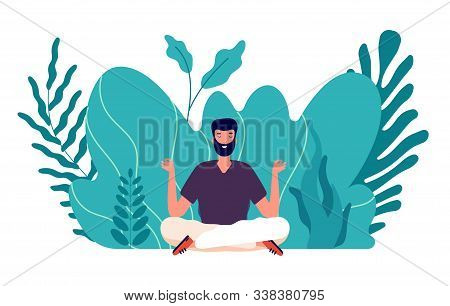 Meditation Concept. Man Healed, Energy Balance And Find Harmony Life. Male Zen, Health And Wellbeing