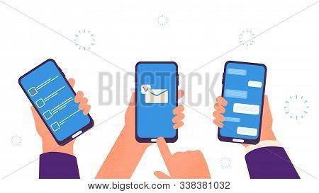 People Chat. Hands Hold Smartphones, Digital Addiction. Business Time Management App, Send Mobile Em