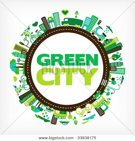 circle with green city - environment and ecology poster